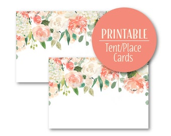 Peach Floral Buffet Tent Cards | Peaches and Cream Flowers Party Buffet cards | Printable Place Cards | Floral Birthday Decor | 1567