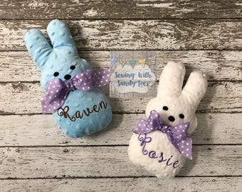 Easter Bunny Personalized Child's Personalized Easter Bunny Easter Basket Bunny Stuffed Marshmallow Peep Marshmallow Bunny