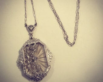 Antique Art Deco 14K White Gold Diamond Camphor Glass Pendant Necklace with flowers and a butterfly