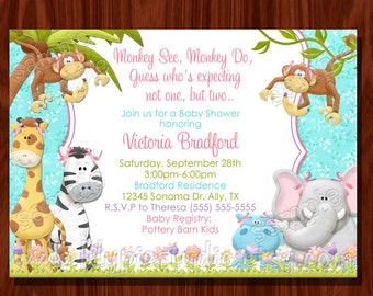 Monkey Twin Girl Baby Shower Invitation PRINTABLE Digital File