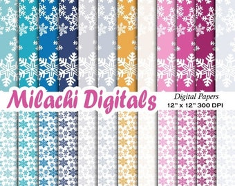 60% OFF SALE Snowflakes digital paper, frozen scrapbook papers, winter wallpaper, holiday background - M390