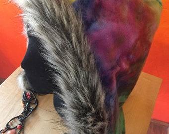 Reversible tie dye fleece fur trim rave hood