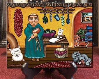 San Pascual, Saint of Cooks, San Pasquale, San Paschal, San Pascual Retablo, country kitchen art, San Pascal,  Santa Fe art, chef art