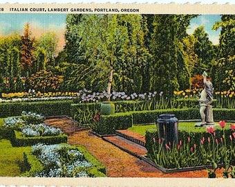Vintage Oregon Postcard - The Italian Court Garden at Lambert Gardens, Portland (Unused)