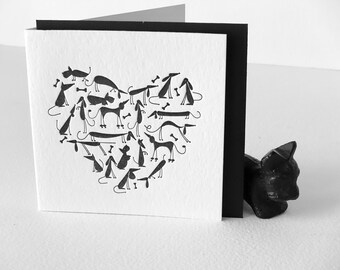 Cute puppy lover card, Mothers day card, fathers day, Letterpress, black dog heart, every day greeting card, scottie, dashound, poodle, pug