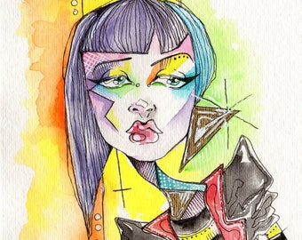 80s New Wave Makeup Watercolor Illustration new romantic rainbow