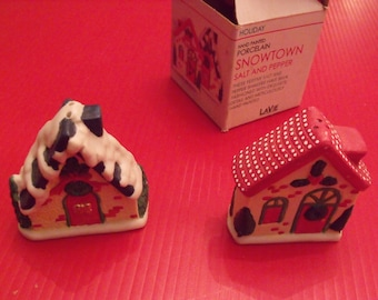 Winter Salt and pepper shakers SNOWTOWN, LaVie brand, hand painted porcelain. New old  stock.Gift.Christmas gift.