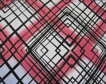Organic Cotton Recycled Poly Jersey Knit Fabric by the Yard Print Geometric Diamond
