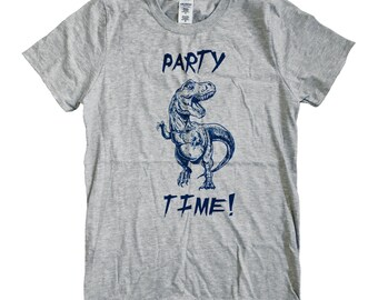 Dinosaur PARTY TIME Mens T-Shirt - Dino Mens Unisex Shirt - (Sizes S, M, L, XL)