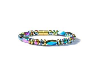 Rainbow Magnetic Hematite Bracelet, Therapy Jewelry, Arthritis Pain Relief