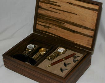 Men's combination Valet Box and Watch box - Walnut with an ambrosia maple top  #574 - sliding tray  - leather lined