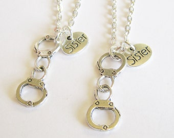 2 Partners In Crime Necklaces, 2 Sisters Necklaces, Handcuff Necklaces, Sisters Necklace. Sisters Jewelry Gift