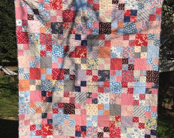 Patriotic quilt, red white and blue quilt, scrappy quilt, lap quilt, throw quilt, retro 30s quilt