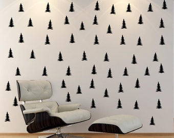 PEEL & STICK Pine Tree Patterned Wall Decal,Black Tree Wall Decal,school office nursery living room kid's bed room kitchen dining aeae decal