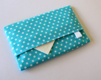 Travel tissue holder, Pocket tissue holder, Fabric tissue cover, tissue pouch, White Polka Dots on Aqua Blue