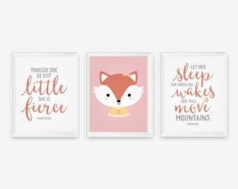 Nursery Decor Baby Girl Fox - Though she be but little, She is Fierce, Mountains Shakespeare, Let her sleep - Set of three