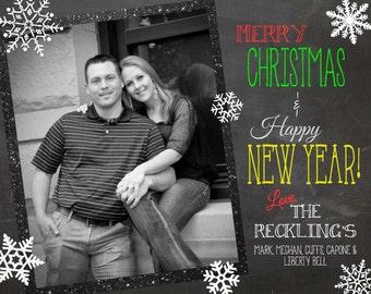 Personalized Christmas Chalkboard Card: **Digital File**
