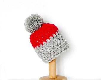 Pom Pom Beanie Color Block Hat Red and Gray Chunky Pompom Women's Beanie