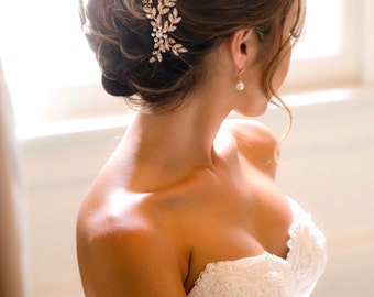 Rose gold Bridal Comb Wedding Hair comb Crystal Fall Leaves Brides Hair Accessories Elegant Modern Style   NEVE