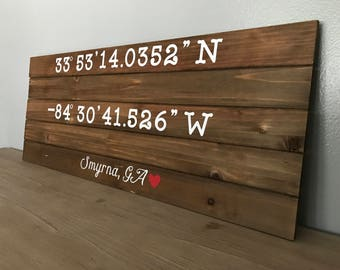Personalized Latitude/Longitude Wood Sign