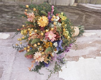 Country CALICO Bridesmaid Dried Flower Bouquet - Rustic Wedding Bouquet - Country Wedding