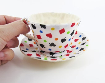 MADE-TO-ORDER ( 1 - 2 Weeks)- Textile Teacup Tidy-Playing Cards Suits