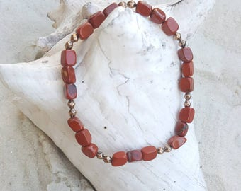 Red jasper and red copper stretch bracelet