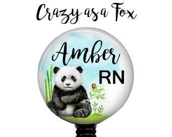 Personalized Watercolor Panda Nurse Retractable Badge Holder, Badge Reel, Lanyard, Stethoscope ID Tag, Nurse, RN, md cna rrt emt ma Gift
