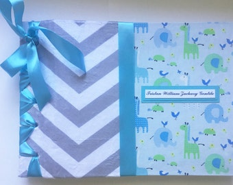 Baby Scrapbook Custom Made to Order, Blank Scrapbook Album in Blue, Baby Keepsake Baby Book, Customized Baby Scrapbooking