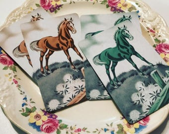 1940s Horse Playing Cards Equestrian Set of 4
