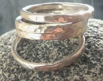 Silver Stacker ring, Silver stacking Ring, Stack ring, Silver ring, Hammered Silver ring, Hammered ring, Bridesmaid gift, Birthday gift.