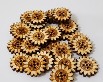Unfinished Wooden Sunflower Laser Cut Sewing Buttons!