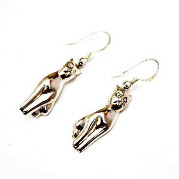 Sterling Silver Cat earrings - dangle drop pierced earrings - Feline - pet - kitty gift for her - Cat lover earrings