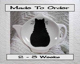 Black Cat Tea Bag Holder Handmade To Order In Ceramic by Grace M. Smith