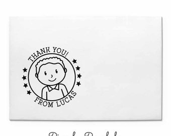 Personalized Thank You Rubber Stamp for Boys, Custom Kids Stamp - Choose Hairstyle and Accessories