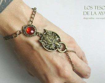 Wolf slave bracelet- statement jewelry