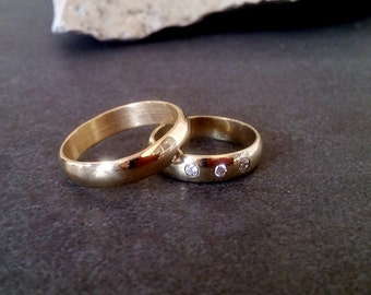 SALE! Couple Wedding bands, stacking rings set,two gold rings,diamond ring,gemstone ring,clear quartz ring