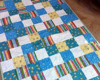 ON SALE Pastel Lap Quilt, Baby Quilt, Teen Quilt, Toddler Quilt, Blanket Quilt, Lap Blanket