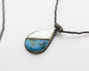 """Vintage Southwest Tribal Sterling Silver Necklace w MOP and Turquoise Inlay 18"""". [553]"""
