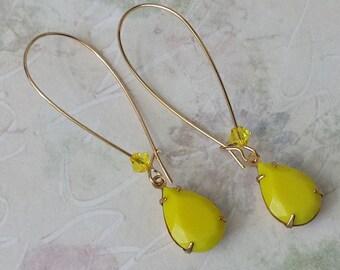 Yellow Teardrop Earrings Yellow Rhinestone Earrings Gold Drop Earrings Teardrop Earrings Yellow Earrings Retro Glam Vintage Rhinestone
