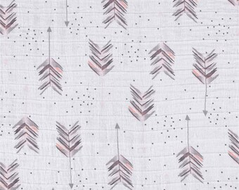 Pink and Gray Arrow Swaddle / Gauze / Muslin Cotton Shannon Fabric by the Yard