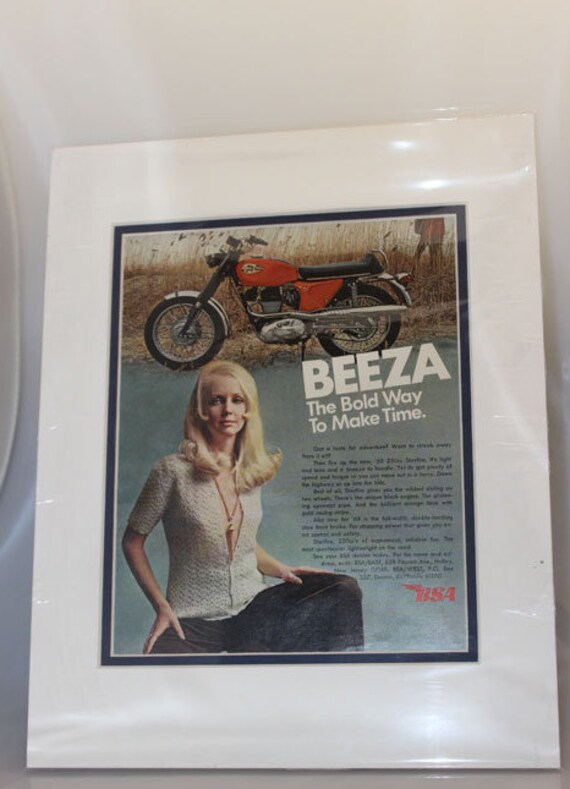 "1969 Vintage BSA Starfire Motorcycle Beeza Girl - 11"" x 14"" Matted Ad Art #de69fa0m"