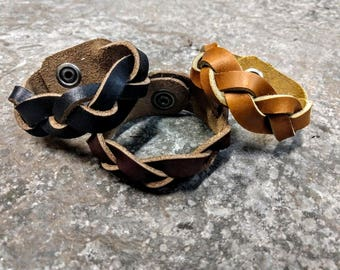 Braided Leather Snap Bracelet - Ships free in the US