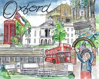 Original Oxford Mississippi Watercolor Painting // Ole Miss Rebels Art // University of Mississippi Artwork