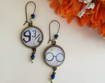 Harry Potter cameo dangle earrings with green and blue beads