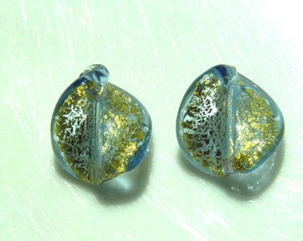 Sapphire and Gold Foil Murano Venetian Glass Twist Beads   2