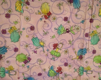 New spring fairies & flowers fabric 1 yard  (matches spring flowers)