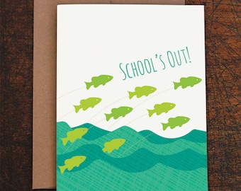 graduation card / school's out / fish