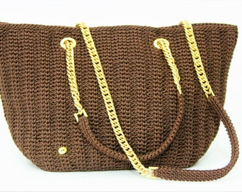 Brown rope shoulder bag/handbag/women's/Accessory Bag crochet/Gift/present for you/handmade/Made in Italy