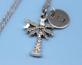Silver Palm Tree  Charm Necklacen Palmetto Palm Tree with  Crescent   Moon Coconut Tree Charm Personalized Necklace Initial Necklace